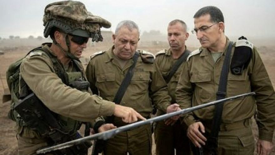 IDF Chief of Staff Lt. Gen. Gadi Eizenkot (second from left). Credit: IDF Spokesperson's Unit.