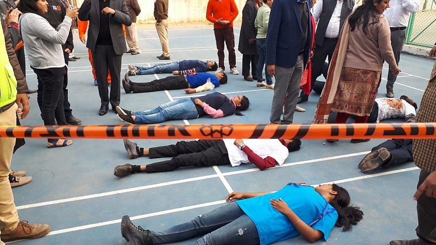 A mass-casualty incident training and preceding lecture in Gurugram, India. Credit: United Hatzalah.