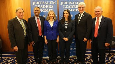 From left: Sir Ivan Lawrence, former member of the British Parliament and prominent British Jewish leader; Joel Anand Samy and Natasha Srdoc, co-founders of International Leaders Summit; Ayelet Shaked, Israeli Minister of Justice; Gov. Phil Bryant (R-Miss.); and Maurice McTigue, former New Zealand cabinet minister. Credit: Jerusalem Leaders Summit via Facebook.