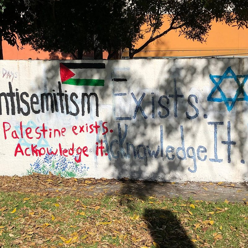A mural was vandalized at Pomona College in Claremont, Calif., created to remember the Oct. 27, 2018 mass shooting at the Tree of Life*Or L'Simcha Synagogue in Pittsburgh, which left 11 Jewish worshippers dead. Credit: Zachary Freiman/Pomona College.