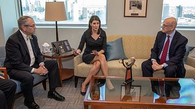 Outgoing U.S. Ambassador to the United Nations Nikki Haley talks with the leadership of B'nai B'rith International on Dec. 18, 2018, at the U.S. Mission to the United Nations in New York. Credit: B'nai B'rith/Facebook.