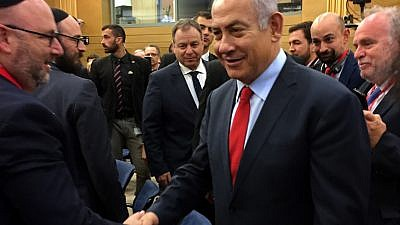 Israeli Prime Minister Benjamin Netanyahu greets journalists gathered from countries worldwide for the Jewish Media Summit, held from Nov. 25-28, 2018. Photo by Maayan Jaffe-Hoffman.