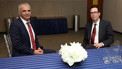Israeli Finance Minister Moshe Kahlon (left) with U.S. Treasury Secretary Steven Mnuchin in Washington, D.C., on Dec. 4, 2018. Credit: Moshe Kahlon/Twitter.