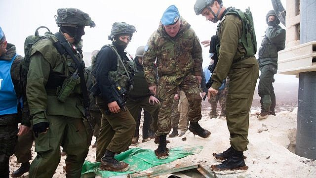 The head of the IDF's Northern Command, Maj. Gen. Yoel Strik, met with the UNIFIL Cmdr. Gen. Stefano Del Col from Italy, and toured the area of the cross-border attack tunnel that was exposed after being dug from Lebanon into Israel, Dec. 6, 2018. Credit: IDF Spokesperson Unit.
