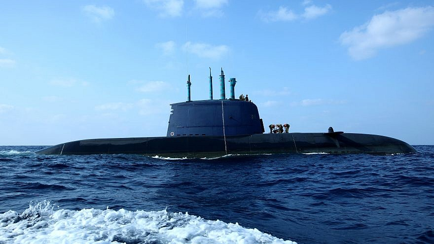 An Israeli navy Dolphin-class submarine in the water off the coast of Haifa. The Dolphin class is a diesel-electric submarine which was developed and constructed in Germany for the Israeli Navy's specific needs.  The Dolphin boats are considered among the most sophisticated and capable conventional submarines in the world. Photo by Moshe Shai/Flash90.