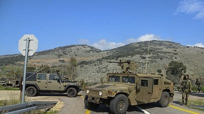 The site where seven Israeli soldiers were wounded when an Israeli army patrol came under anti-tank fire from Hezbollah operatives in the northern Mount Dov region along the Israeli  border with Lebanon, on Jan. 28, 2015. Photo by Ancho Gosh/Flash90.