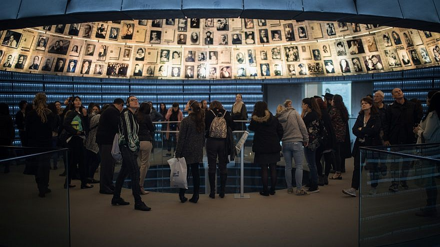 Visitors seen at the Yad Vashem Holocaust Memorial museum in Jerusalem on April 10, 2018, ahead of Israeli National Holocaust Remembrance Day. Photo by Hadas Parush/Flash90