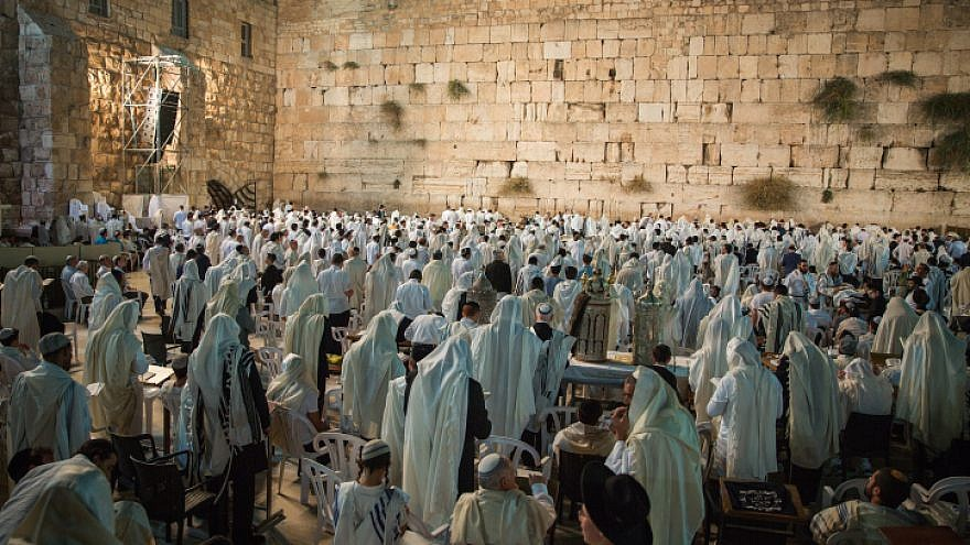 Thousands of Jews pray at the Western Wall in Jerusalem's Old City on the Jewish holiday of Yom Kippur, the Day of Atonement, Sept. 19, 2018. Photo by Ben Toren/Flash90.