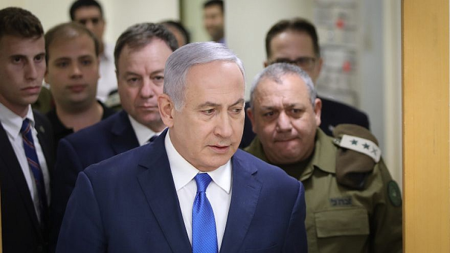 Israel Defense Forces' Chief of Staff Gadi Eizenkot and Israeli Prime Minister Benjamin Netanyahu arrive to a press conference at the Kirya government headquarters in Tel Aviv on Dec. 4, 2018. Photo by Noam Revkin Fenton/Flash90.