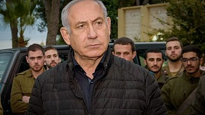Israeli Prime Minister Benjamin Netanyahu speaks with Israeli soldiers during his visit at the Northern Command base in Tzfat on Dec. 11, 2018. Photo by Basel Awidat/Flash90.