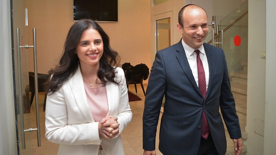 Israeli Education Minister Naftali Bennett and Justice Minister Ayelet Shaked, seen after their announcement in a press conference in Tel Aviv on Dec. 29, 2018, of the formation of a new political party. Photo by Yossi Zeliger/Flash90.