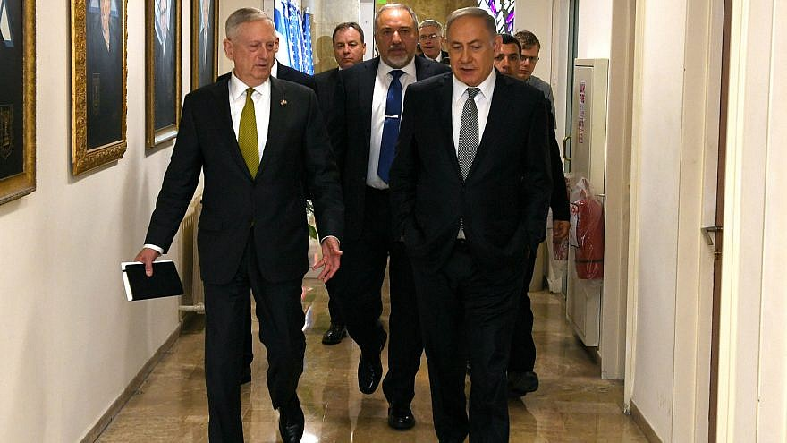 U.S. Secretary of Defense James Mattis, left, with Israeli Prime Minister Benjamin Netanyahu in Israel in April 2017. Credit: U.S. Embassy in Israel.
