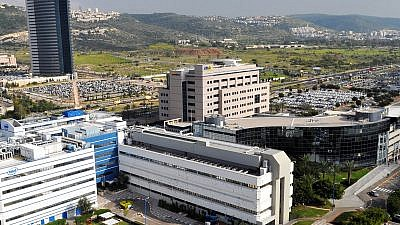 Matam High-Tech Park at the southern entrance to Haifa is the largest and oldest dedicated technological park in Israel. The buildings in the front are of Intel and Elbit Systems. The high-tech industry has been booming in Israel, as has the economy in 2018. Credit: Zvi Roger/Wikimedia Commons.