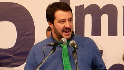 Matteo Salvini speaks during a Lega Nord rally in 2013. Credit: Fabio Visconti via Wikimedia Commons.