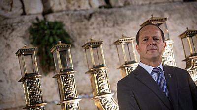 Then-Jerusalem Mayor Nir Barkat attends a Hanukkah event at the Western Wall in Jerusalem on Dec. 3, 2018. Photo by Aharon Krohn/Flash90.