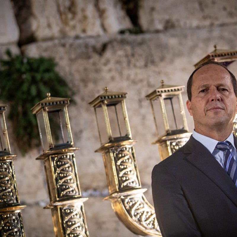 Outgoing Jerusalem Mayor Nir Barkat attends a Hanukkah event at the Western Wall in Jerusalem on Dec. 3, 2018. Photo by Aharon Krohn/Flash90.