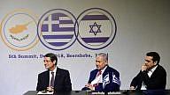 Cypriot President Nicos Anastasiades, Israeli Prime Minister Benjamin Netanyahu and former Greek Prime Minister Alexis Tsipras at the fifth Israel-Greece-Cyprus Summit in Beersheva on Dec. 20, 2018. Credit: Kobi Gideon/GPO.