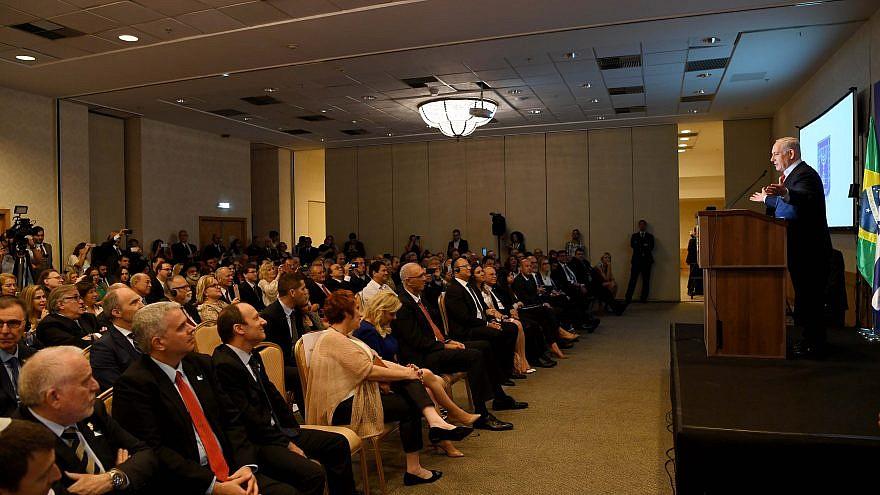 Israeli Prime Minister Benjamin Netanyahu addresses members of Brazil's Jewish community on Dec. 30, 2018. Credit: Avi Ohayon/GPO.