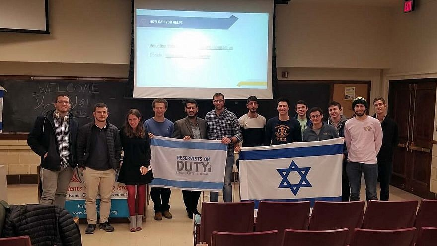 Members of the group Reservists on Duty at the University of Illinois at Urbana-Champaign, where they spoke to students about life in Israel. Credit: Courtesy.