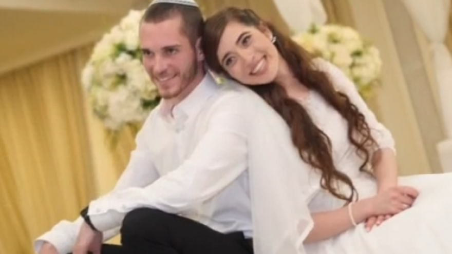 Wedding photo of Amichai and Shira Ish-Ran, married earlier this year. Both were injured in a drive-by shooting by a Palestinian terrorist at a bus stop outside of the Jewish community of Ofra on Dec. 9, 2018. Courtesy of the family.