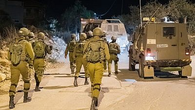 Israel Defense Forces conduct security operations in the West Bank in December 2018. Credit: IDF Spokesperson's Unit.
