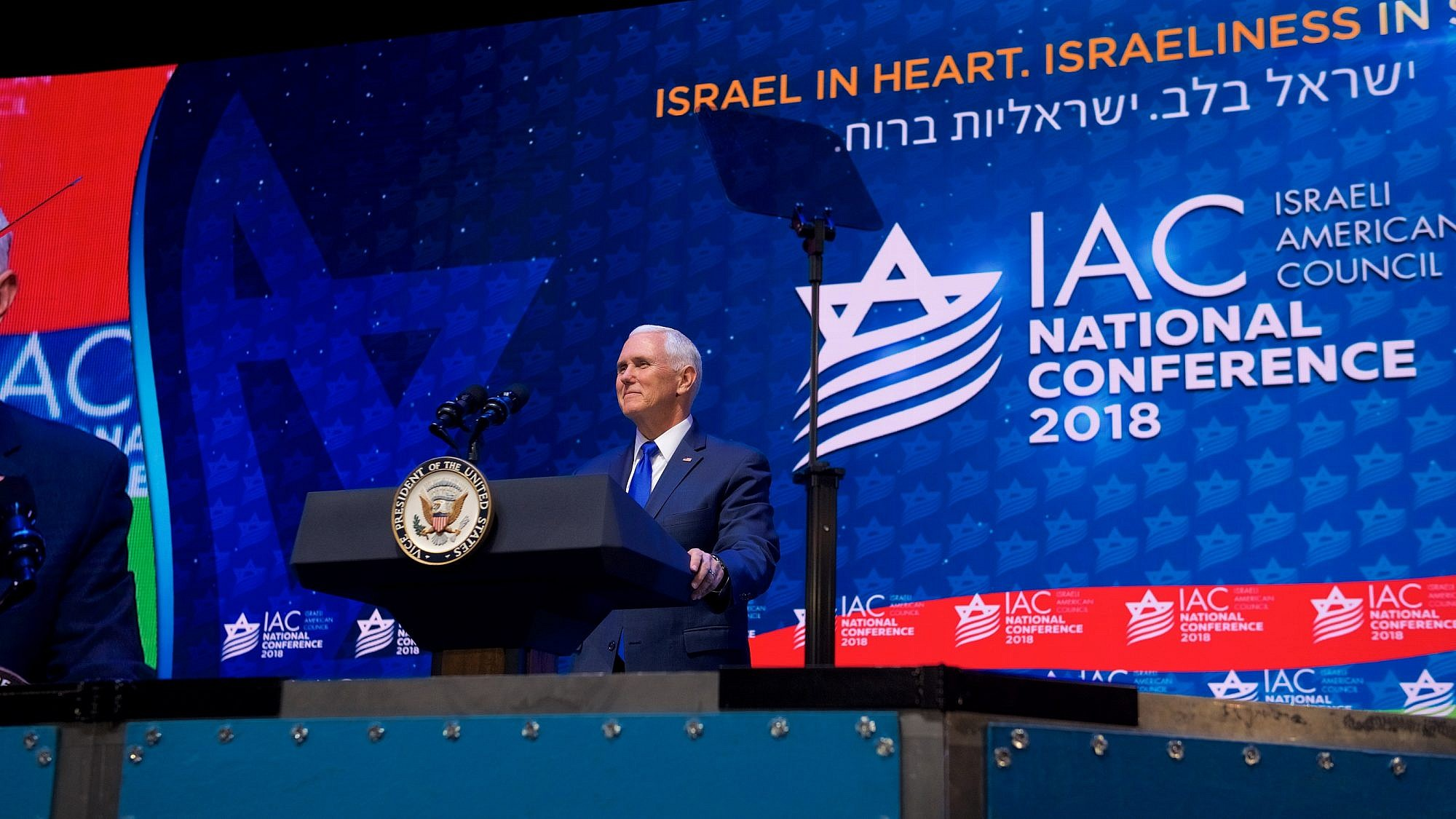 U.S. Vice President Mike Pence speaking at the 2018 Israeli-American Council conference. Credit: Perry Bindelglass.