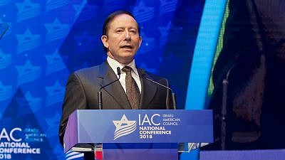 Israeli-American Council chairman Adam Milstein addressing the IAC conference in Washington, D.C. November 2018. Credit: Perry Bindelglass.