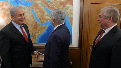 Prime Minister Benjamin Netanyahu with Russia's special representative for Syria Alexander Lavrentiev and Deputy Foreign Minister Sergey Vershinin in Jerusalem on Jan. 29, 2019. Credit: Amos Ben Gershom/GPO.
