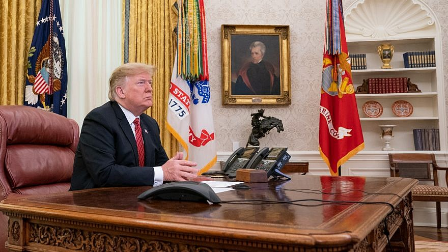 U.S. President Donald Trump participates in a Christmas Day video teleconference from the Oval Office on Dec. 25, 2018. Credit: Official White House Photo by Shealah Craighead.