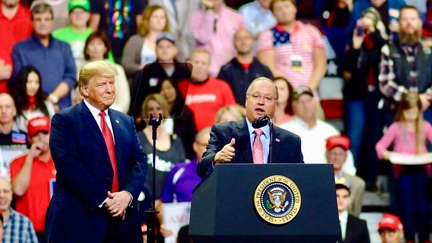 Rep. Jim Hagedorn (R-Minn.) speaking during a campaign rally with President Donald Trump in October 2018. Credit: Hagedorn for Congress via Facebook.