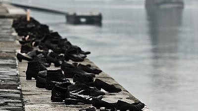 """Shoes on the Danube Promenade"" memorial to Hungarian Jews murdered in Budapest during World War II and the Holocaust, erected in 2005 by the Danube River. Credit: Nikodem Nijaki/Wikimedia Commons."