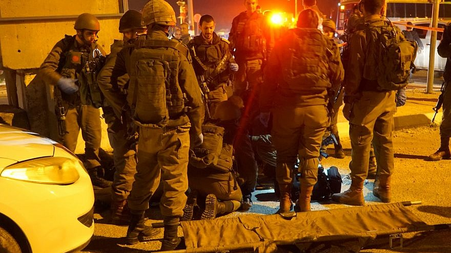 Israeli soldiers neutralize an assailant after an attempted stabbing near the West Bank city of Nablus on Jan. 21, 2019. Credit: IDF.
