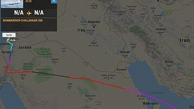 Private jet's flight path from UAE to Israel on January 17, 2019. Screencapture from Flightradar24.com.