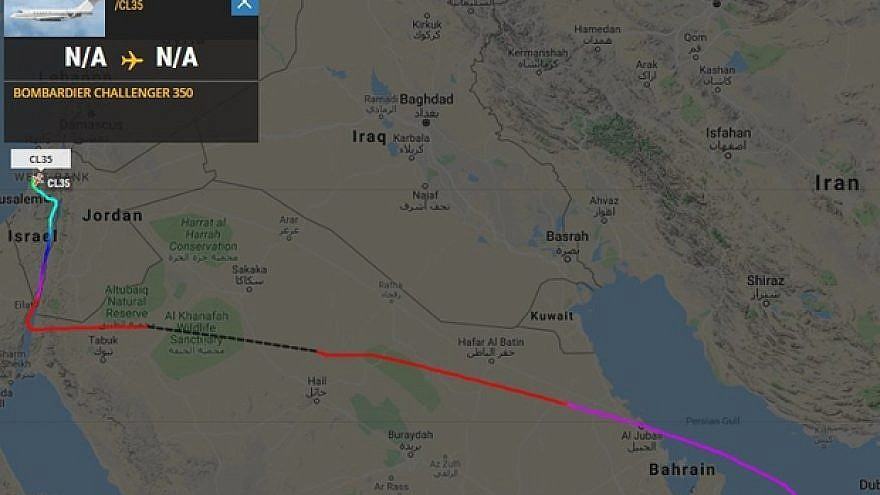 A private jet's flight path from UAE to Israel on Jan. 17, 2019. Screencapture from Flightradar24.com.
