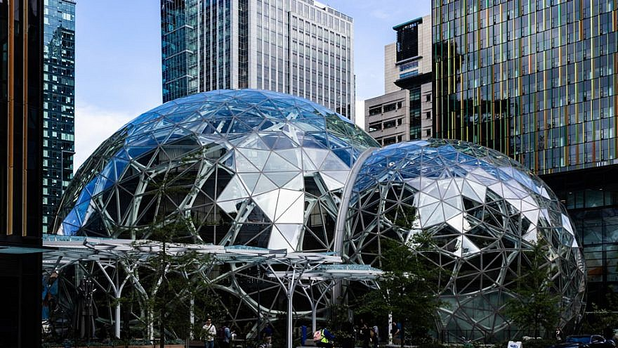 The Amazon Spheres, part of the Amazon headquarters campus in Seattle, May 10, 2018. Credit: Biodin/Wikimedia Commons.