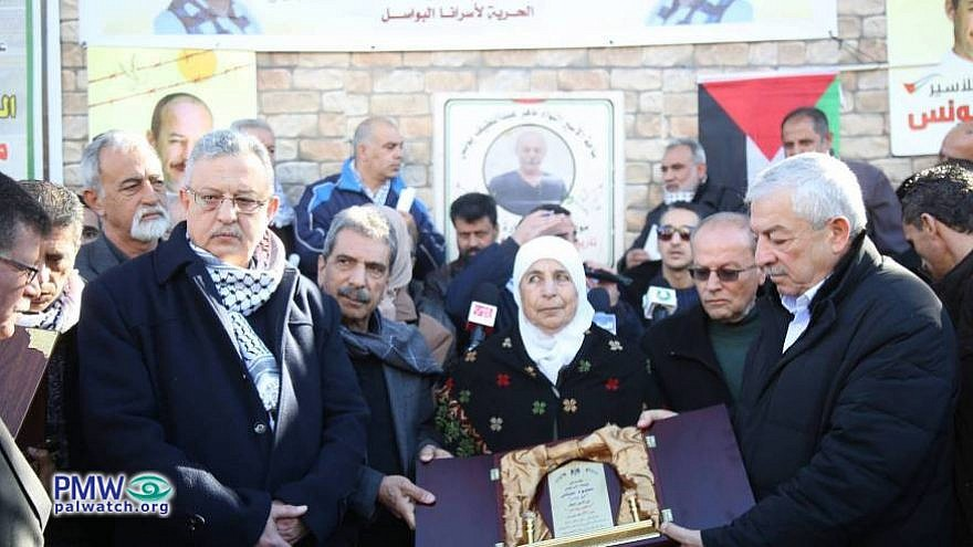 "At the event, Abbas's deputy Al-Aloul ""conveyed the blessings of President [Abbas] and the leadership to prisoner Maher Younes, his family, and all of our heroic prisoners."" [Official P.A. daily ""Al-Hayat Al-Jadida,"" Jan. 20, 2019] (PMW)"