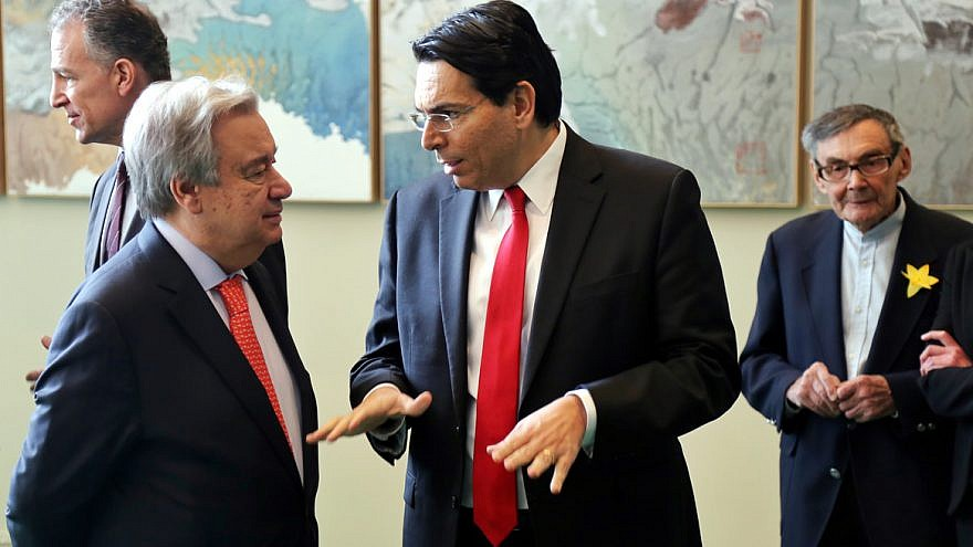 Israeli Ambassador to the United Nations Danny Danon (right) talks with U.N. Secretary General António Guterres. Credit: Israel at the UN.