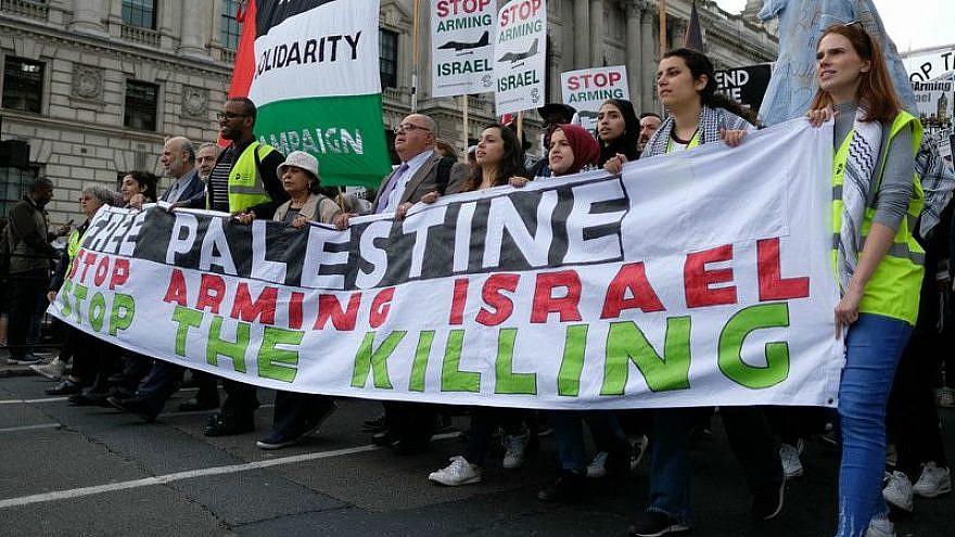 Palestinian solidarity protesters march towards the British parliament on June, 5 2018. Credit: Alisdare Hickson via Flickr.