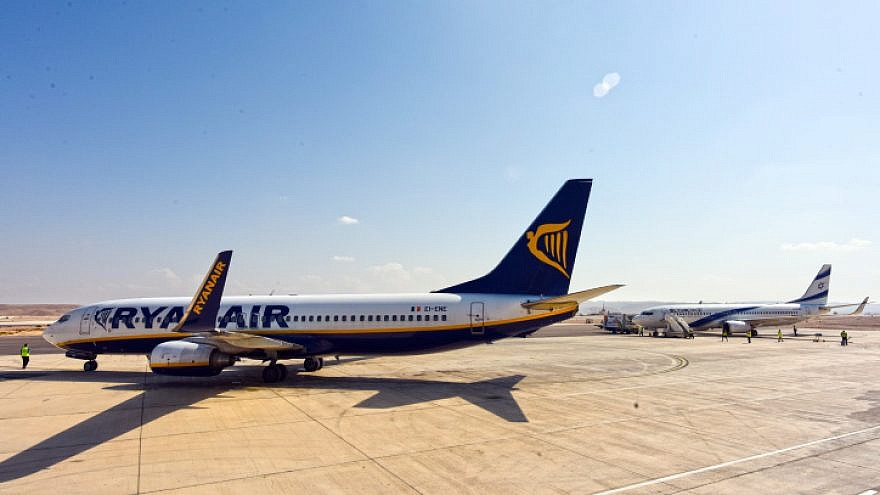 Irish airline Ryanair arrives to the airport in the southern Israeli city of Eilat on Nov. 9, 2015. Photo by Flash90.