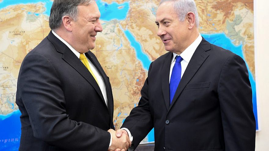 U.S. Secretary of State Mike Pompeo with Israeli Prime Minister Benjamin Netanyahu in Tel Aviv on April 29, 2018. Photo by Matty Stern/U.S. Embassy Tel Aviv.