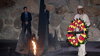 Chad's President Idriss Déby during a visit at the Yad Vashem Holocaust memorial museum in Jerusalem on Nov. 26, 2018. Photo by Yonatan SIndel/Flash90.
