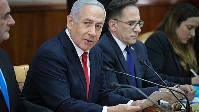 Israeli Prime Minister Benjamin Netanyahu leads the weekly government conference at the Prime Minister's Office in Jerusalem on Jan 13, 2019. Credit: Amit Shabi/YEDIOT ACHRANOT/POOL.