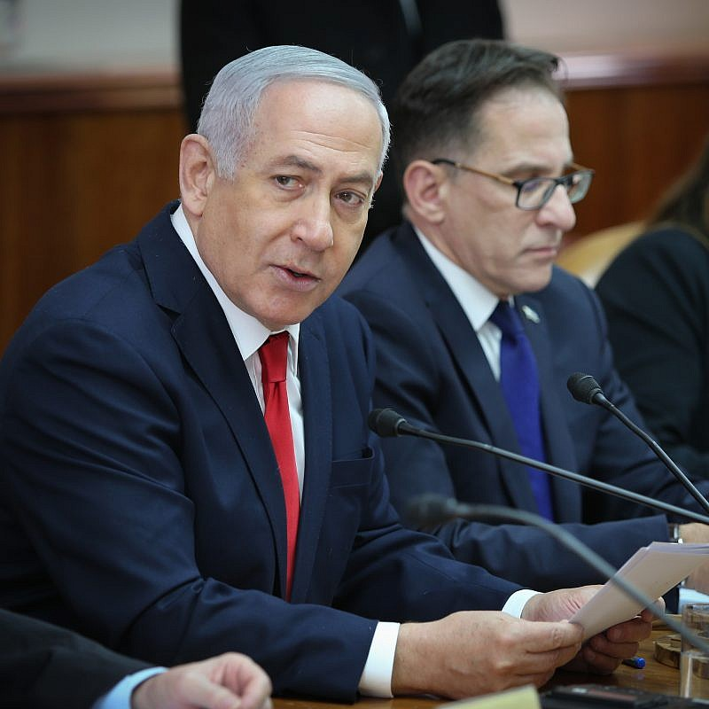 Prime Minister Benjamin Netanyahu leads the weekly government conference at the Prime Minister's Office in Jerusalem on January 13, 2019. Credit:  Amit Shabi/YEDIOTH AHRONOTH/POOL