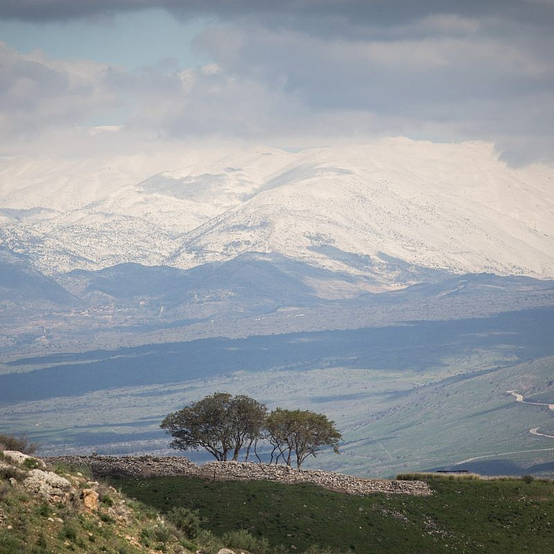 View of the snow-covered Mount Hermon in the Golan Heights in northern Israel on Jan. 18, 2019. Credit: Hadas Parush/Flash90.
