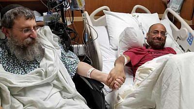 Rabbi Ephraim Simon (left) and Adam Levitz after the partial liver transplant that saved Levitz's life. Credit: Chabad.org/News.