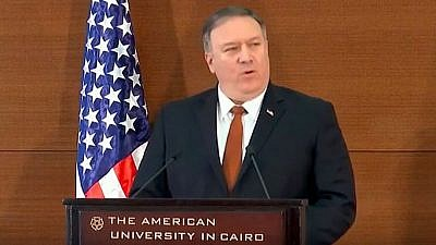 U.S. Secretary of State Mike Pompeo delivers a speech on the Trump administration's Mideast policies at the American University in Cairo on Jan. 10, 2019. Credit: Screenshot.
