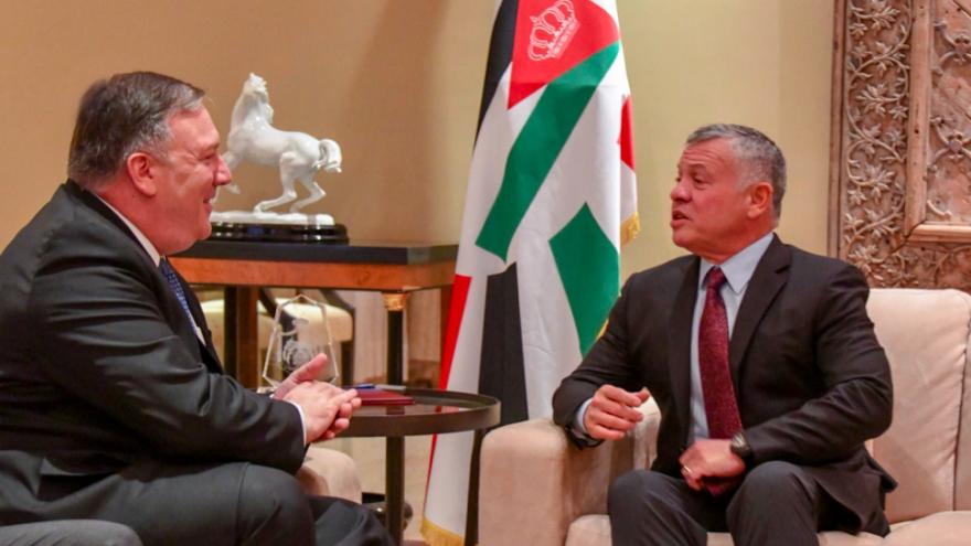 U.S. Secretary of State Mike Pompeo meets with King Abdullah II of Jordan in Amman on Jan. 8, 2018. Credit: Screenshot via Secretary Pompeo/Twitter.