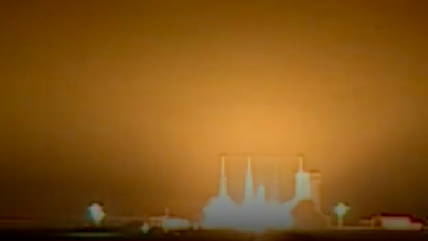 Iran launches a rocket carrying the Payam satellite on Jan. 15, 2019, which successfully passed its first and second phases, but failed in the third stage of its release. Credit: Screenshot.