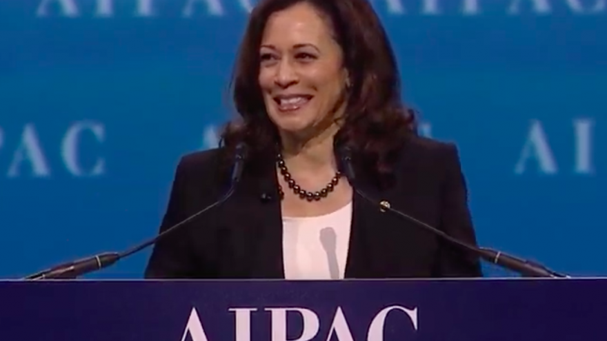 Sen. Kamala Harris (D-Calif.) addresses the 2017 AIPAC Policy Conference in Washington, D.C. Source: Screenshot.