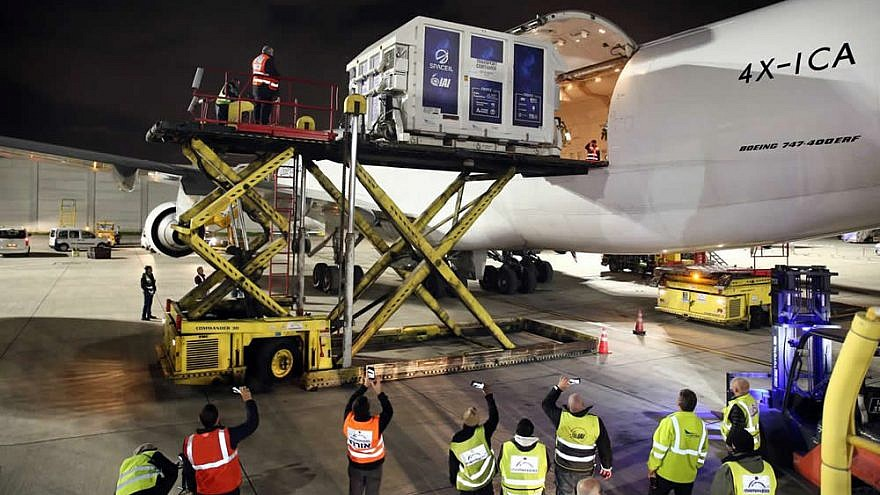 "Packed inside a temperature-controlled shipping container, Israel's first lunar spacecraft, named ""Beresheet,"" was loaded onto a cargo plane at Ben-Gurion International Airport on Jan. 17, 2019, to be flown to Florida ahead of its scheduled launch in mid-February. Photo by Eliran Avital."